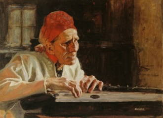 Rune Singer Larin Paraske Playing The Kantele Painting By Albert Edelfelt 1854 1905